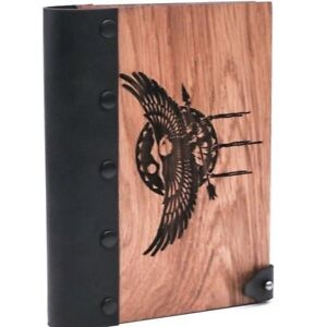 Usa Eagle Wooden Notebook Leather Journal Wooden Notepad Wooden Diary Blank