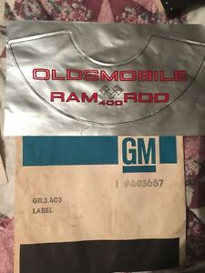 Nos 442 Oldsmobile 1969 Ram Rod 400 Air Cleaner Label Decal 403687