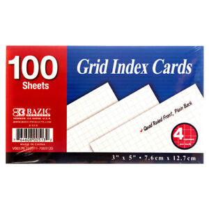 New 329376 Index Card Grid 100ct 3 X 5 513 36 pack Index Cards Cheap