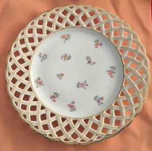 Antique Dresden Floral Reticulated Pierced Border Plate