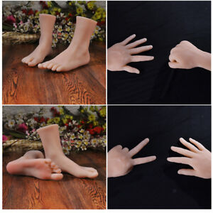 4pcs Realistic Male Fake Hand Lifelike Male Mannequin Fake Foot Life size