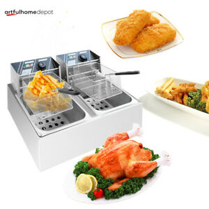 5000w Electric Deep Fryer Countertop Dual Tank Home Use Commercial Restaurant