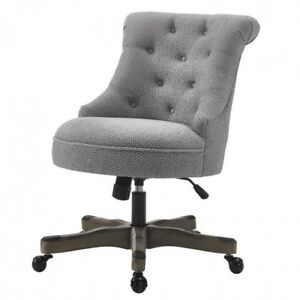 Executive Office Chair Gray Upholstered Armless Wood Base Wheels Desk Furniture