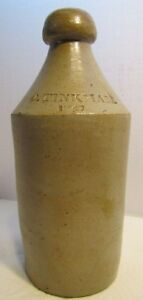 Antique 1847 O Tinkham Salt Glazed Pottery Stoneware 19c Root Beer Bottle