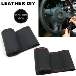 New Black Red Leather Diy Car Steering Wheel Cover With Needles And Thread
