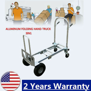 folding Multifunction 3 In 1 Aluminum Hand Truck Upright Hand Cart Up To 350 Kg