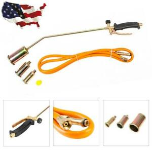 Propane Torch W 3 Nozzles 79 Hose Lawn Landscape Weed Burner Ice Snow Melter