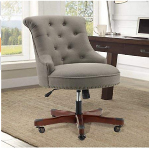 Executive Office Chair Armless Wood Base Wheels Gray Upholstered Desk Furniture