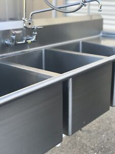 Stainless Steel 3 bay Commercial Sink 2 drain Boards