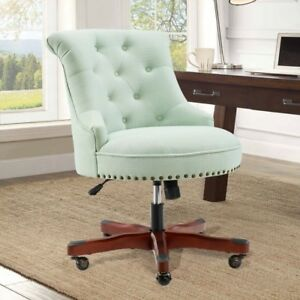 Executive Office Chair Armless Wood Base Wheels Green Upholstered Desk Furniture