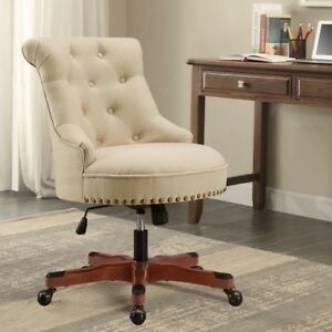 Executive Office Chair Upholstered Armless Wood Base Wheels Desk Furniture New