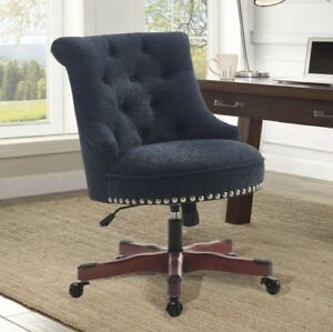 Executive Office Chair Armless Wood Base Wheels Blue Upholstered Desk Furniture