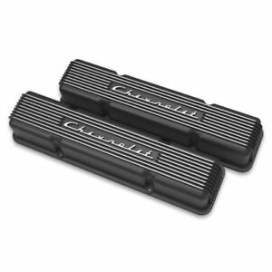 Holley 241 108 Gm Licensed Vintage Series Small Block Chevy Valve Covers Black