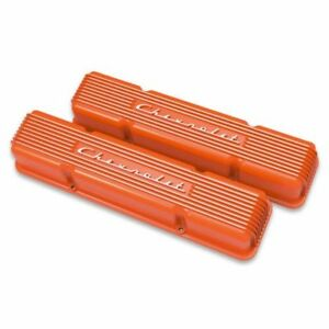 Holley 241 109 Gm Licensed Vintage Series Small Block Chevy Valve Covers Orange