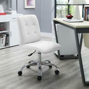 Office Chair Mid Back In White Modern Office Furniture