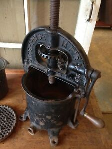 Original Antique Sausage Stuffer Cast Iron Fruit Lard Press Enterprise Mfg Usa
