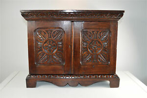 Antique Victorian Carved Oak Collectors Stationary Cabinet With Key Circa 1890