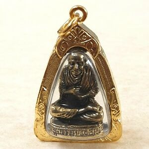 Lp Toh Thai Monk Meditation Amulet Luck Wealth Health Protect Pendant Gold Case