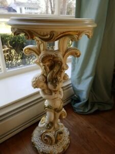 Vintage Painted Cherub Pedestal Mirrored Top Table Chic Italian Glamorous Style