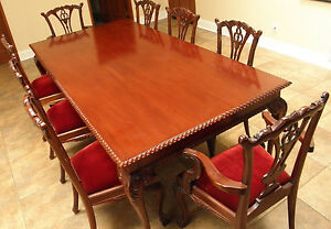 Chippendale Mahogany Dining Room Set Table W 8 Chairs Carved