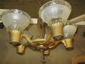 Vintage 1930 S 5 Light Slip Shade Chandelier Cast Iron With 5 Shades