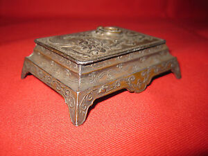 Antique Dragon Chinese Stamps Box With A Compass Signed