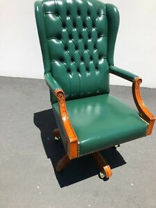 Vintage Partners Antique Leather Office Chair Green