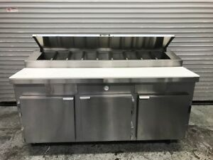 New 72 3 Door Refrigerated Food Prep Table Kairak Krp 72r 9411 Nsf Remote Cond
