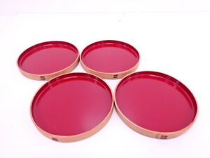 4011215 Japanese Tea Ceremony Red Lacquered Serving Plate Set Of 4 Bent Wood