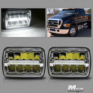 2x 7x6 Led Headlights Hi low Beam W mid Drl For Ford F550 F600 F650 F700 F750