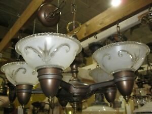 Vintage 1930 S Cast Metal 5 Light Slip Shade Chandelier With Shades