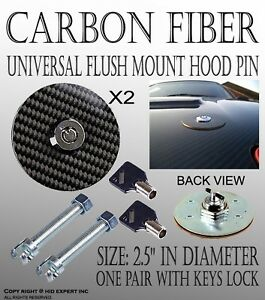 Icbeamer Real Carbon Fiber Overlay Flush Mount Bonnet Hood Pin Key Lock Kit