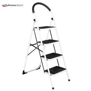 4 Steps Folding Ladder Step Stool W Hand Grip 330 Lbs Capacity home Kitchen Use