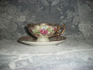 Vintage Hand Painted With Pink Roses Gold Accents Cup And Saucer Iridescent