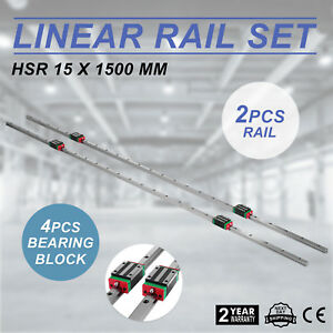 2pcs Hsr15 1500mm Linear Rail Shaft Rod 4pcs Hsr15ca Block Bearing