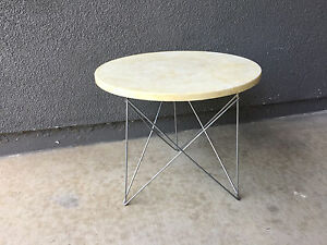 Rene Brancusi Travertine Eiffel Side Table Vintage Mid Century Modern Eames Era