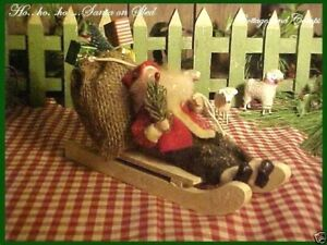 Santa On Sled Sack Of Toys Primitive Antique Style Belsnickle Xmas Feather Tree