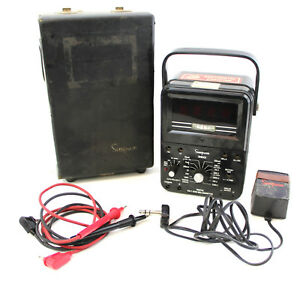 Vintage Simpson 360 Digital Multi Meter With Case And Power Cord Antique
