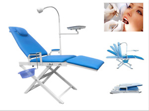 Greeloy Dental Folding Version Portable Chair Blue 8w Led Light Tray Cuspidor Ce