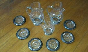 3 Sterling Silver Glass Crimped Lip Martini Cocktail Pitchers Set W 6 Coasters