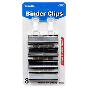 New 374958 Binder Clips 8pc Md Blk Color 261 bazic 24 pack School Supplies