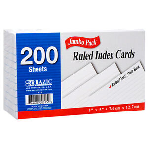 New 306211 Index Card 3x5 200 Ct Ruled bazic 36 pack Index Cards Cheap