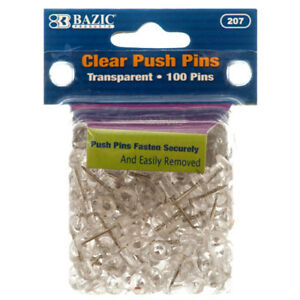 New 304095 Push Pin 100ct Clear bazic 24 pack Clips And Pins Cheap Wholesale