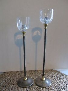 Pm Italy Silver Plated Tapered Candle Stick Holders