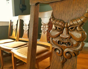 Superrare 1880 S Hand Carved North Wind Green Man Quarter Sawn Oak Chairs Lot