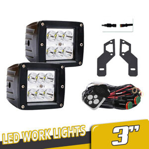 2x 3inch 18w Spot Led Work Light Square Cube Pods Offroad Fog 4wd Bumper