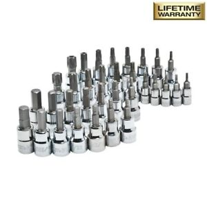 Husky 3 8 In Drive Master Bit Sockets Complete Set Hex Sae Metric Torx 37 piece