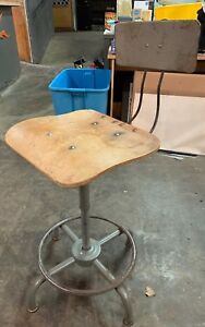 Vintage Antique Industrial Ajustrite Metal Stool With Curved Wooden Seat