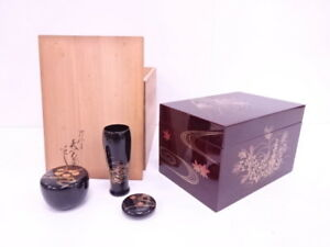 4013451 Japanese Tea Ceremony Lacquered Tea Utensil Box Set By Hyokan Kawase