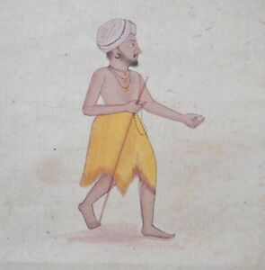 Vintage Oriental Indian Miniature Fakir Derwish Saint Painting India Rajasthan